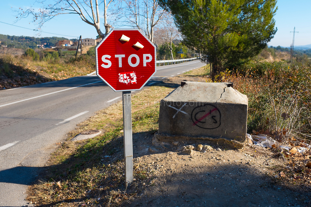 """Stop sign in Ullastrell, a staunchly pro-Catalan independence town near Barcelona, with a """"no"""" to the right-wing anti-independence party Ciudadanos. Catalan Regional Elections, December 2017, called by Spanish Primer Minister Rajoy following the October 1st referendum on independence, and the application of Article 155 of the Spanish constitution - an attempy by Spain to maintain its unity. While right wing anti-independence party Ciudadanos won the election, they didn't get a majority - a coalition of pro-independence parties instead restored the exiled Carles Puigdemont to the Catalan presidency."""