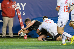 November 3, 2018 - Chicago, IL, U.S. - CHICAGO, IL - NOVEMBER 03: Maori All Blacks Ben May dives (3) to score a try  in action during the Rugby Weekend match between the New Zealand Maori All Blacks and the USA Eagles on November 3, 2018 at Soldier Field, in Chicago, Illinois.  (Photo by Robin Alam/Icon Sportswire) (Credit Image: © Robin Alam/Icon SMI via ZUMA Press)