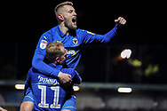 AFC Wimbledon midfielder Mitchell (Mitch) Pinnock (11) celebrating after scoring goal with AFC Wimbledon striker Joe Pigott (39) during the EFL Sky Bet League 1 match between AFC Wimbledon and Burton Albion at the Cherry Red Records Stadium, Kingston, England on 28 January 2020.