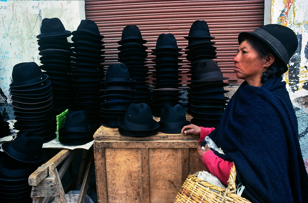 Hat stall, Riobamba market, Chimborazo, Ecuador