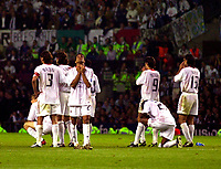 Photo. Richard Lane<br />AC Milan v Juventus. UEFA Champions League Cup Final. 28/05/2003.<br />The Milan players pray as the final penalty is taken.