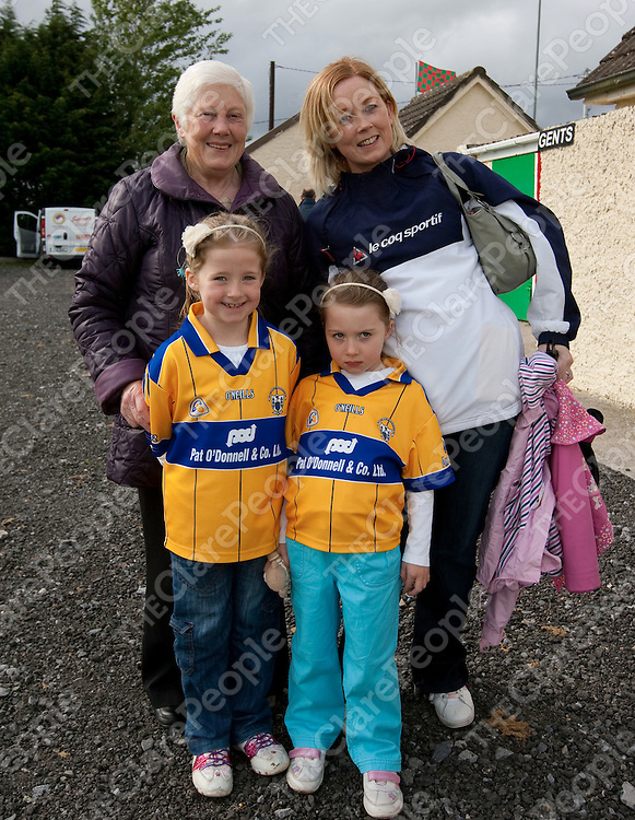 Pictured at the Official opening of the New Pitch and unveiling of Plaques in Clooney/Quinn GAA Club were:<br /> Maura McNamara, Fiona, Emma & Clodagh Quinn..<br /> Picture Credit Brian Gavin Press 22