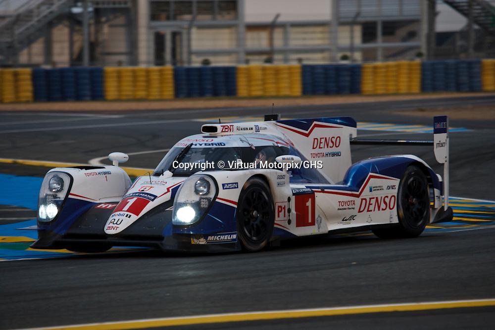 #1 Toyota TS040 Hybrid, Toyota Gazoo Racing, Sebastien Buemi, Anthony Davidson, Kazuki Nakajima, Le Mans 24H, 2015