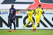 Viktor Claesson (SWE) scored a goal and celebration with Mikael Lustig (SWE), Marcus Thuram (FRA) disappointed during the UEFA Nations League football match between France and Sweden on November 17, 2020 at Stade de France in Saint-Denis, France - Photo Stephane Allaman / ProSportsImages / DPPI