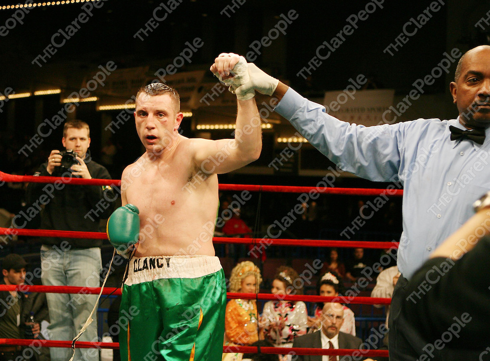 """Mark Clancy wins his fight in at the Irish Ropes """"Erin Go Brawl """" at Madison Square Garden, New York on Friday night.<br /> Photograph by Eamon Ward"""