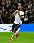 Goal - Raheem Sterling of England celebrates scoring a goal to give a 3-0 lead to the home team during the UEFA European 2020 Qualifier match between England and Czech Republic at Wembley Stadium, London, England on 22 March 2019.