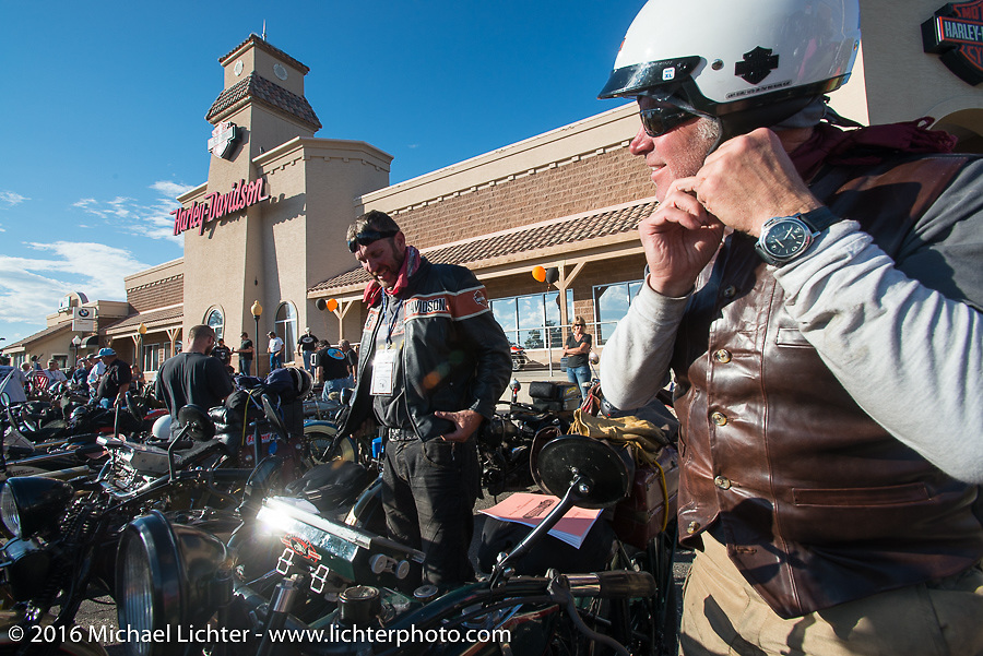 Team Vino - Robert Gustavsson (L), also known as the Big Swede, on his 1931 Harley-Davidson VL alongside Dean Bordigioni (Dino) on his 1923 Harley-Davidson JS at the hosted dinner stop at Grand Junction Harley-Davidson during Stage 10 (278 miles) of the Motorcycle Cannonball Cross-Country Endurance Run, which on this day ran from Golden to Grand Junction, CO., USA. Monday, September 15, 2014.  Photography ©2014 Michael Lichter.