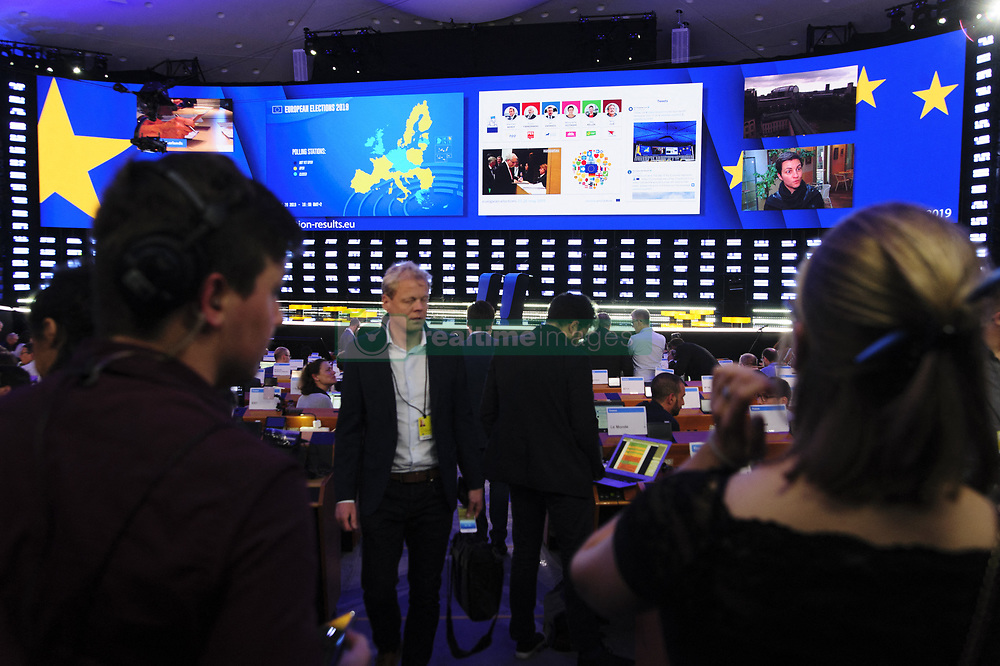 May 26, 2019 - Brussels, Belgium - The electoral evening of the European elections in the European Parliament in Brussels. (Credit Image: © Nicolas Landemard/Le Pictorium Agency via ZUMA Press)