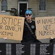 Protestors are calling for justice for the victims of COVID-19 who lost their lives because the UK government failed to contain the Indian variant nation, continues by allowing spread outside Downing Street, 7 July 2021, London, UK.