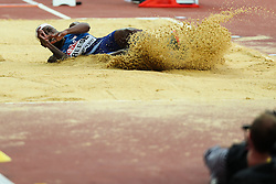 London, August 11 2017 . Brittney Reese, USA, in the women's long jump final on day eight of the IAAF London 2017 world Championships at the London Stadium. © Paul Davey.