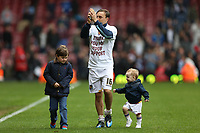 Football - The Championship - West Ham United vs Hull City<br /> Mark Noble of West Ham with his children, thanks fans after the game with his children at Upton Park