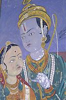 Inde - Rajasthan - Région du Shekawati - Village de Nawalgarh - Peinture à l'interieur d'une Haveli (palais)