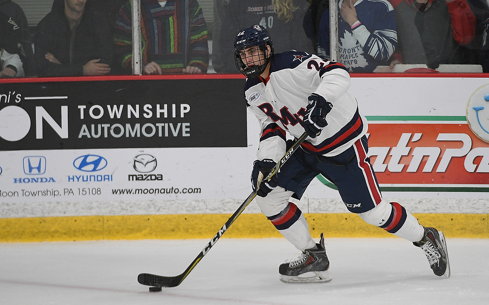 PITTSBURGH, PA - OCTOBER 12: Aidan Girduckis #22 of the Robert Morris Colonials skates with the puck during the game against the Bowling Green Falcons at the Colonials Arena on October 12, 2018 in Pittsburgh, Pennsylvania. (Photo by Justin Berl/RMU Athletics)