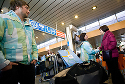 Slovenian cross skiers Filip Flisar and  Sasa Faric at arrival to Airport Joze Pucnik from Vancouver after Winter Olympic games 2010, on February 25, 2010 in Brnik, Slovenia. (Photo by Vid Ponikvar / Sportida)