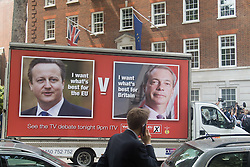 Smith Square, Westminster, London, June 7th 2016. UKIP Leader Nigel Farage launches a new campaign poster today outside Europe House ahead of a scheduled ITV Debate with the Prime Minister David Cameron. PICTURED: Nigel Farage's new poster outside Europe House in Smith Square.