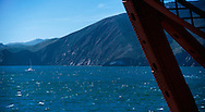 View of the entrance to San Francisco Bay, from Fort Point beneath the Golden Gate Bridge
