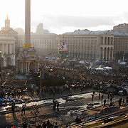 KIEV, UKRAINE - February 20, 2014: General view of the partially burned Independence Square in central Kiev. Hours earlier, riot police responded to an advance by protestors, with gunfire that, according to the opposition, killed at least 70 and as many as 100 people. The drastic escalation of the three-month-old Ukraine crisis left the country reeling from the most lethal violence in decades. CREDIT: Paulo Nunes dos Santos