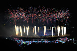 JAKARTA, Aug. 18, 2018  Fireworks explode over the Gelora Bung Karno (GBK) Main Stadium at the opening ceremony of the 18th Asian Games in Jakarta, Indonesia, Aug. 18, 2018. (Credit Image: © Huang Zongzhi/Xinhua via ZUMA Wire)