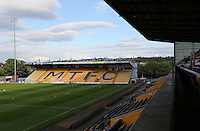 A general view of the One Call Stadium, home of Mansfield Town FC<br /> <br /> Photographer David Shipman/CameraSport<br /> <br /> Football - The EFL Cup First Round - Mansfield Town v Blackburn Rovers - Tuesday 9th August 2016 - One Call Stadium - Mansfield<br />  <br /> World Copyright © 2016 CameraSport. All rights reserved. 43 Linden Ave. Countesthorpe. Leicester. England. LE8 5PG - Tel: +44 (0) 116 277 4147 - admin@camerasport.com - www.camerasport.com