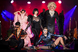 "© Licensed to London News Pictures. 24/04/2019. LONDON, UK. (L to R) Fancy Chance, Kitty Bang Bang, Bernie Dieter, Beau Sargent and Myra Dubois pose at the preview of Bernie Dieter's ""Little Death Club"" an eclectic performance show taking place at the Underbelly Festival on the Southbank until 23 June 2019.  Photo credit: Stephen Chung/LNP"