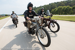 Three 100-year old 1916 Indians cross the  country. Clint Funderburg (L) of Oregon, Ryan Allen of New Mexico and Rich Rau also of Oregon during the Motorcycle Cannonball Race of the Century. Stage-6 from Cape Girardeau, MO to Springfield, MO. USA. Thursday September 15, 2016. Photography ©2016 Michael Lichter.