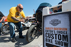 Dave Perewitz at the Harley-Davidson Editors Choice Custom Bike Show during the annual Sturgis Black Hills Motorcycle Rally. SD, USA. August 9, 2016. Photography ©2016 Michael Lichter.