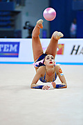 Margarita Mamun of Russia competes during the rhythmic gymnastics individual ball qualification of the World Cup at Adriatic Arena on April 1, 2016 in Pesaro, Italy. Margarita was born 1 November 1995 in Moscow, she is a retired Russian individual rhythmic gymnast.<br />