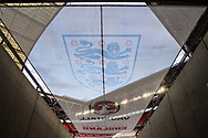 general shot of the stadium and crest at the FIFA World Cup Qualifier match between England and Slovakia at Wembley Stadium, London, England on 4 September 2017. Photo by Sebastian Frej.