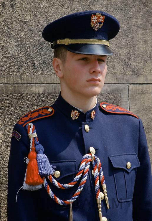 Military guard in ceremonial uniform at Prague Castle in Prague, Czech Republic, Czechoslovakia