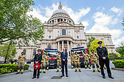 Matt Wrack leads a wreath laying and minutes silence for Firefighters memorial day outside St Paul's Cathedral - with firemen from Shoreditch. The 'lockdown' continues for the Coronavirus (Covid 19) outbreak in London.