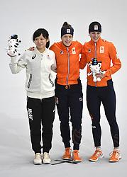 12-02-2018 SCHAATSEN: OLYMPISCHE SPELEN: OLYMPIC GAMES: PYEONGCHANG 2018<br /> Ireen Wust (JustLease.nl) Olympisch kampioen 1500 meter<br /> Vlnr. Miho Takagi (JPN), Ireen Wust (JustLease.nl) en Marrit Leenstra (NED) <br /> <br /> Foto: Soenar Chamid