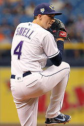 June 9, 2018 - St. Petersburg, FL, U.S. - ST. PETERSBURG, FL - JUN 09: Blake Snell (4) of the Rays delivers a pitch to the plate during the MLB regular season game between the Seattle Mariners and the Tampa Bay Rays as the Rays turn back the clock by wearing their Devil Rays uniforms on June 09, 2018, at Tropicana Field in St. Petersburg, FL. (Photo by Cliff Welch/Icon Sportswire) (Credit Image: © Cliff Welch/Icon SMI via ZUMA Press)