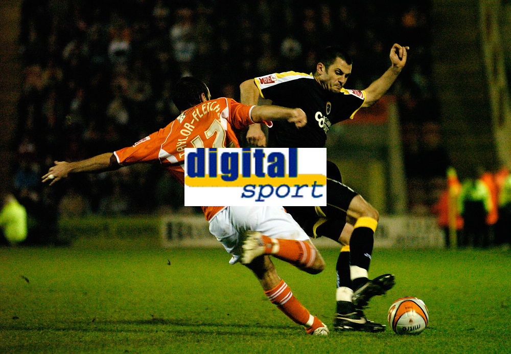 MATTHEW POVER PICTURE                                                +447971 184305<br /> <br /> 11/12/07 .... Blackpool v Cardiff<br /> Cardiff's Steve Thompson fouls Blackpool's Gary Taylor-Fletcher.