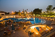 The swimming pool and outdoor seating area of the Gezira Club in Zamelek, Cairo, Egypt