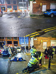 **Use of image requires payment for two pictures**<br /> © Licensed to London News Pictures . 01/01/2021 . Manchester, UK. Comparison image showing deleted streets in the early hours of New Years Day 2021 (TOP), and the same famous scene from the early hours of New Years day 2016 (BOTTOM) . Photo credit : Joel Goodman/LNP