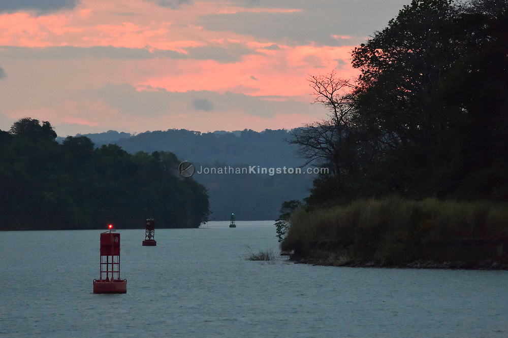 Navigational buoys in the Gatun lake, part of the Panama canal, aid ships transiting from the Pacific and Atlantic oceans.