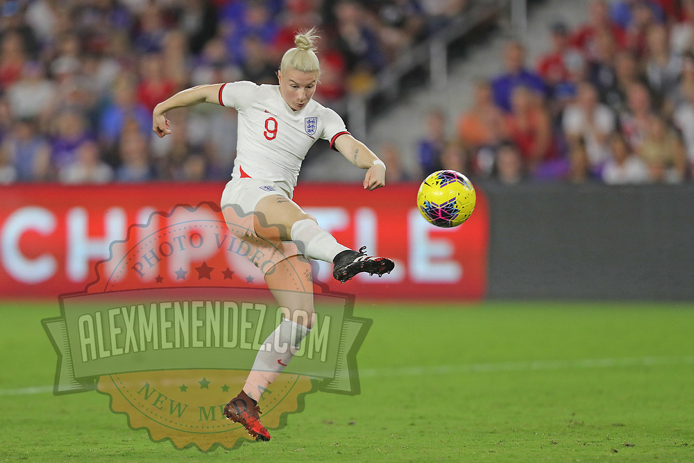 England forward Bethany England (9) attempts a shot during the first match of the 2020 She Believes Cup soccer tournament at Exploria Stadium on 5 March 2020 in Orlando, Florida USA.