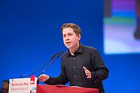 DEU, Deutschland, Germany, Berlin, 07.12.2017: Der Juso-Vorsitzende Kevin Kühnert bei seiner Rede auf dem Bundesparteitag der SPD im CityCube.