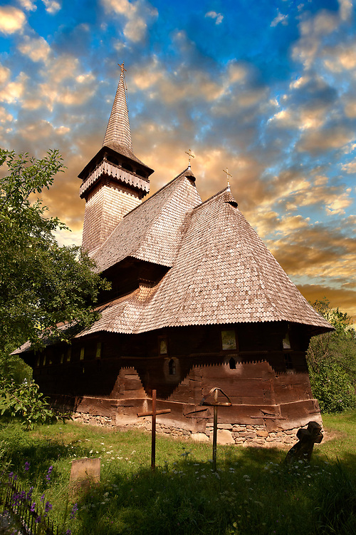 Wooden Church of the Greco Catholic Sat Suagtag ( Biserica de lemn ) , Maramures, Northern Transylvania, Romania. .<br /> <br /> Visit our ROMANIA HISTORIC PLACXES PHOTO COLLECTIONS for more photos to download or buy as wall art prints https://funkystock.photoshelter.com/gallery-collection/Pictures-Images-of-Romania-Photos-of-Romanian-Historic-Landmark-Sites/C00001TITiQwAdS8<br /> .<br /> Visit our MEDIEVAL PHOTO COLLECTIONS for more   photos  to download or buy as prints https://funkystock.photoshelter.com/gallery-collection/Medieval-Middle-Ages-Historic-Places-Arcaeological-Sites-Pictures-Images-of/C0000B5ZA54_WD0s
