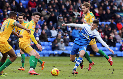 Peterborough United's Joe Newell in action with Yeovil Town's Sam Foley, Kieffer Moore and Stephen Arthurworrey - Photo mandatory by-line: Joe Dent/JMP - Mobile: 07966 386802 - 31/01/2015 - SPORT - Football - Peterborough - ABAX Stadium - Peterborough United v Yeovil Town - Sky Bet League One