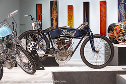 Nancy (from the Sex Pistols' Sid & Nancy), a 1912 Flying Merkel 61 cubic inch, 7-1/4 hp big valve racer built by Billy Lane. On view in the What's the Skinny Exhibition (2019 iteration of the Motorcycles as Art annual series) at the Sturgis Buffalo Chip during the Sturgis Black Hills Motorcycle Rally. SD, USA. Friday, August 9, 2019. Photography ©2019 Michael Lichter.