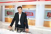 TV Channel Public Senat - Paris, France. July 3rd 2006..Pierre Sled, one of the journalists and TV presenters of the French TV channel Public Senat.