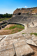 Greek Theatre remodelled in 225-200 BC & again in 175 BC, 68 AD & 299 AD to a width of 139.8 meters to seat 18,500 people. <br /> Miletus Archaeological Site, Anatolia, Turkey. .<br /> <br /> If you prefer to buy from our ALAMY PHOTO LIBRARY  Collection visit : https://www.alamy.com/portfolio/paul-williams-funkystock/miletus-site-turkey.html<br /> <br /> Visit our CLASSICAL WORLD HISTORIC SITES PHOTO COLLECTIONS for more photos to download or buy as wall art prints https://funkystock.photoshelter.com/gallery-collection/Classical-Era-Historic-Sites-Archaeological-Sites-Pictures-Images/C0000g4bSGiDL9rw