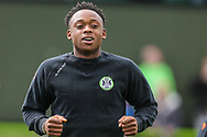 Forest Green Rovers Udoka Godwin-Malife(22) warming up during the EFL Sky Bet League 2 match between Forest Green Rovers and Exeter City at the New Lawn, Forest Green, United Kingdom on 4 May 2019.
