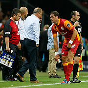 Galatasaray's head coach Fatih Terim with Johan Elmander (R) during their Turkish Super League soccer match Galatasaray between Kasimpasa at the TT Arena at Seyrantepe in Istanbul Turkey on Monday 20 August 2012. Photo by TURKPIX