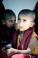 India, Ladakh. Portrait of a little monk from Phyang monastery.