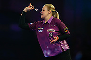 CORRECTION Anastasia Dobromyslova grits her teeth as she throws a dart during the World Championship Darts 2018 at Alexandra Palace, London, United Kingdom on 17 December 2018.