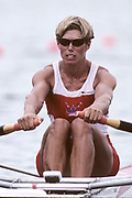 Atlanta Olympics 1996 - Lake Lanier, USA, CAN W1X,  Silken Laumann, on the awards dock with the Olympic Silver medal, All Rights Reserved - Peter Spurrier/Intersport Images,<br /> Mobile 44 (0) 973 819 551<br /> email images@intersport-images.com