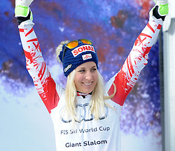 22.03.2015, Roc de Fer, Meribel, FRA, FIS Weltcup Ski Alpin, Meribel, Riesenslalomweltcup Gesamt, Damen, Siegerehrung, im Bild Eva-Maria Brem (AUT, 2. Platz) am Podium für den RiesenslalomWeltcup // second placed Eva-Maria Brem of Austria during the overall winner Ceremony for the lady's Giant Slalom FIS World Cup at the Roc de Fer in Meribel, France on 2015/03/22. EXPA Pictures © 2015, PhotoCredit: EXPA/ Erich Spiess