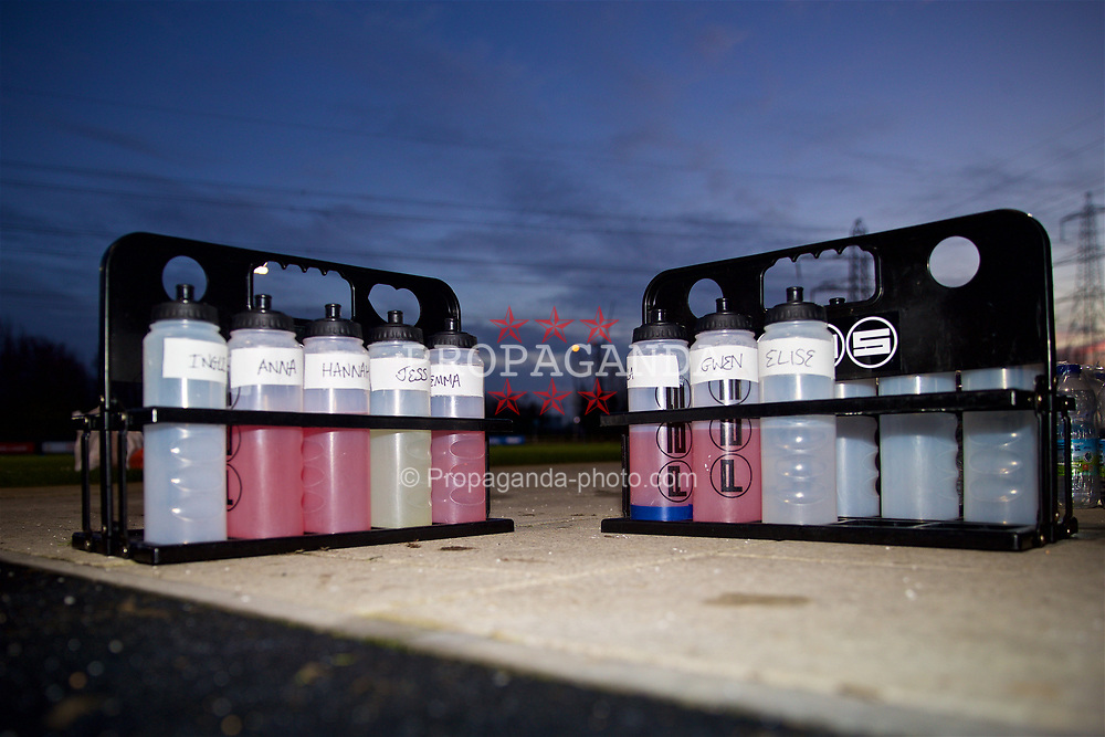 CARDIFF, WALES - Wednesday, January 16, 2019: PAS water bottles for Wales players during a training session at Dragon Park ahead of the International Friendly game against Italy. (Pic by David Rawcliffe/Propaganda)